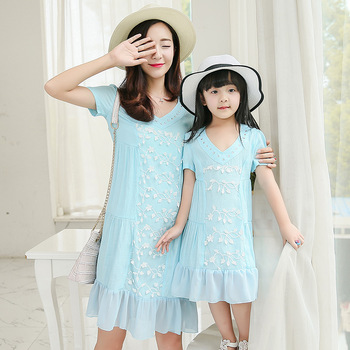 Z91137A Wholesale Mom And Me Matching Dress Mother Children