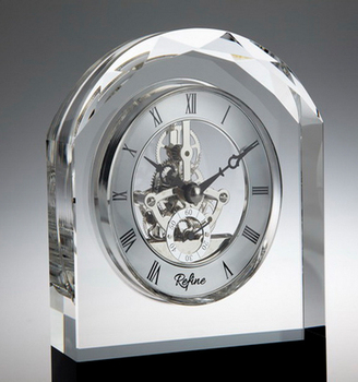 Wedding Gift Luxury K9 Crystal Table Clock With Skeleton Quartz Movement  For Business Souvenirs