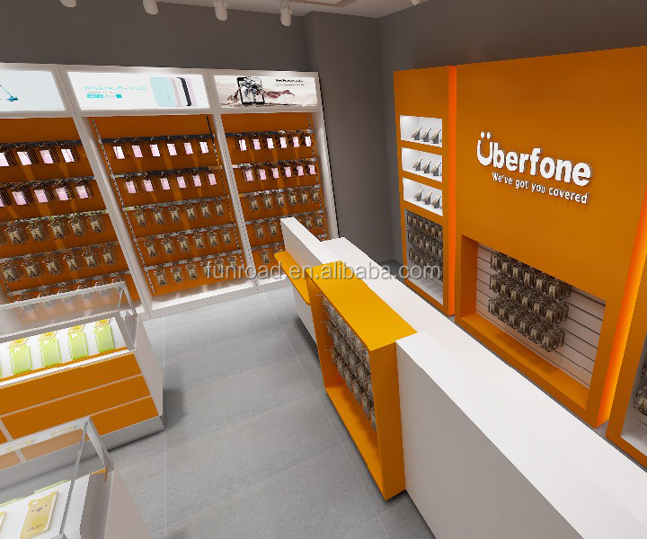 Telecommunication Service Mobile Phone <strong>Retail</strong> Shop Interior Design for hot sale