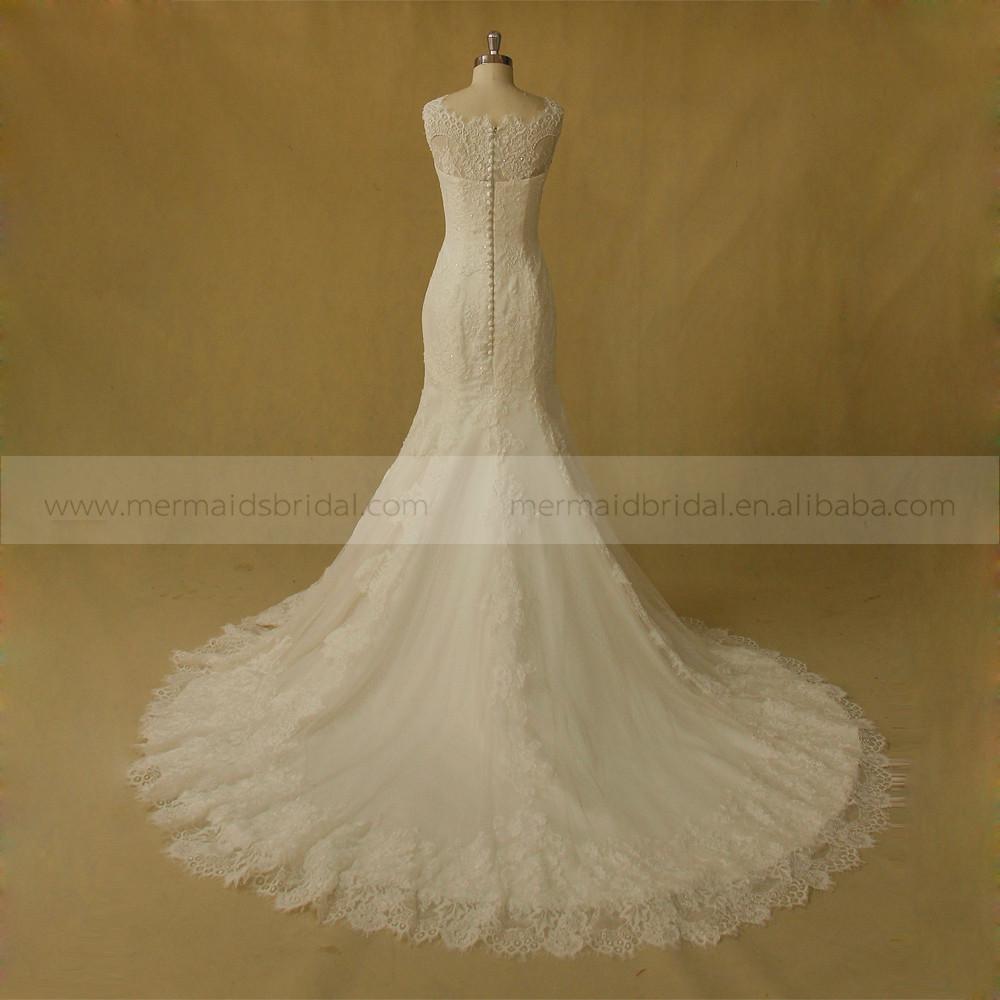 Fabulous mermaid lace wedding dress with chapel train for Wedding dress fabric samples