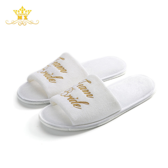 Custom wedding bride white velvet lady eva <strong>slippers</strong>