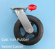 8inch 200mm rubber caster wheel with iron core