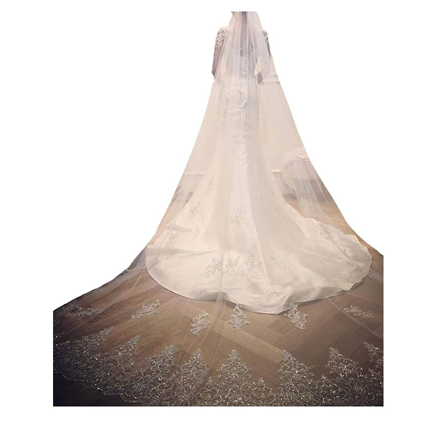kelaixiang Elegant 1 Layer Lace Sequins Beaded Edge Bridal Wedding Veil with Comb