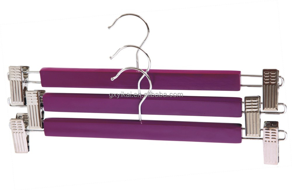 Bulk and cheap wooden trousers skirt hangers with metal clips in pink