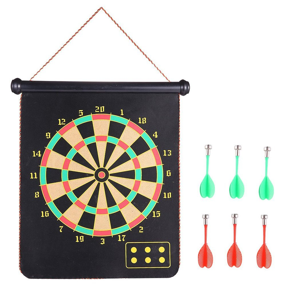 Roll-up 17 inches Safety Magnetic Dart Board Set, Lbsel Fabric Double-Sided Hanging Wall Rubber Magnetic Darts Board for Leisure Sports and Score Games Great Toy Dart Games for Kids Adults