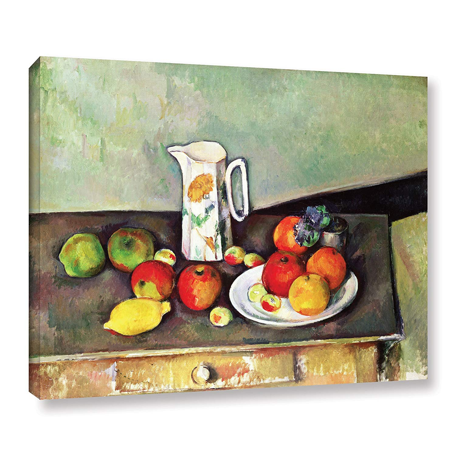 ArtWall 'Still Life with Milk Jug and Fruit' Gallery-Wrapped Canvas Artwork by Paul Cezanne, 24 by 32-Inch