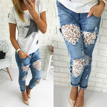 Wholesale 2019 summer new fashion hollow out lace ripped stitching women casual jeans