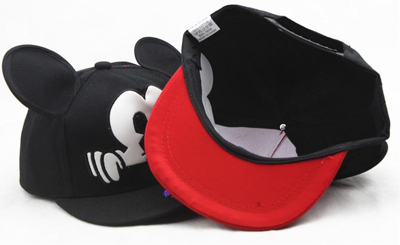 c0e354702e77f Hot selling stylish cool Mickey style black big mouse ear Baseball hats  hiphop snapback children child