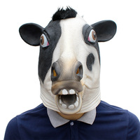 New Halloween Festival Party Supplies Animal Cow Mask Headgear Latex Mask
