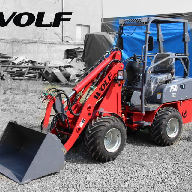 WOLF loader, 750 miniloader radlader with pallet fork, 4 in 1 bucket loader