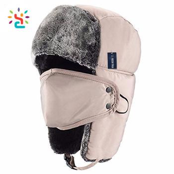 Custom waterproof Faux Fur Earflap cap Winter Ski Trapper Outdoor Hat for  Russian ushanka respirator hunter dbd4df59617