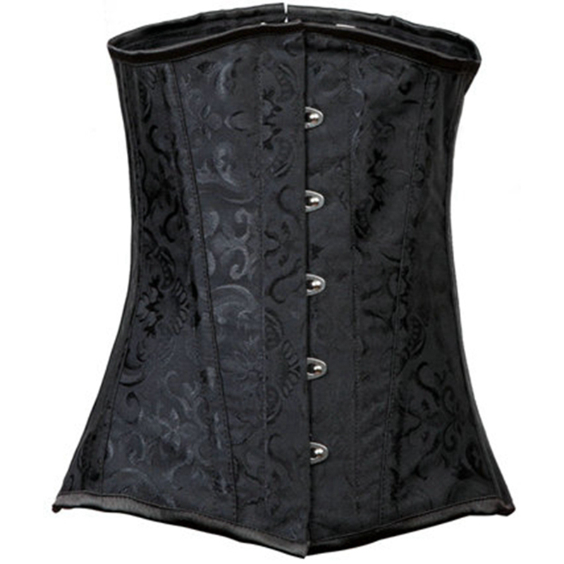 77aca6d930b00 Get Quotations · Gothic Black Brocade 12 Flat Steel Boned Underbust Corset  Waist Training Cincher Shaper Corsets And Bustiers