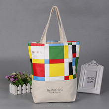 2017 New colorful printing canvas tote bag for shopping