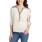 Long sleeve open tunic style cotton embroidery blouse women