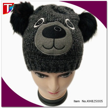 Junge kinder lustige winter earflap hund beanie hut mit faux pelz <span class=keywords><strong>pom</strong></span>, kinder tier <span class=keywords><strong>pom</strong></span> <span class=keywords><strong>pom</strong></span> hut