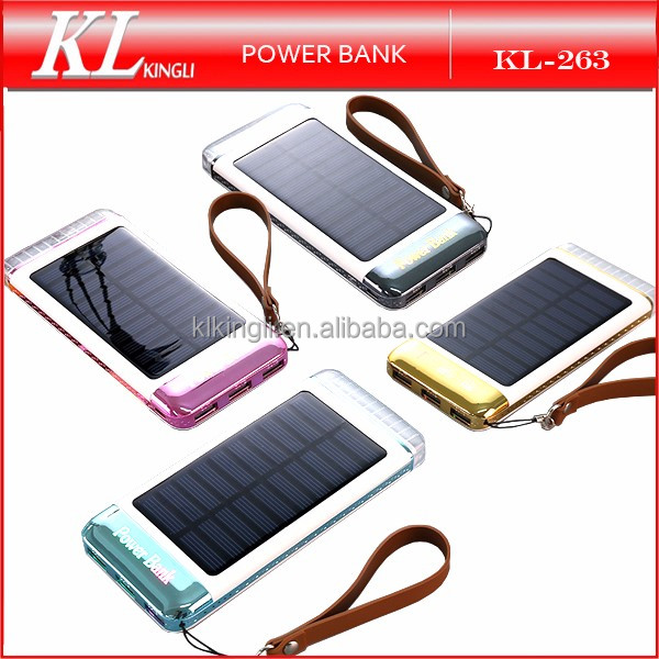 2016 New Product Portable Travel 20000mah Solar Power Bank with Led Light