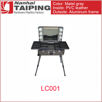 TP Metal Gray Travel Aluminum Rolling Makeup Organizer and Hair Dryer Case with Lighted Mirror Mini Cosmetic Studio Table