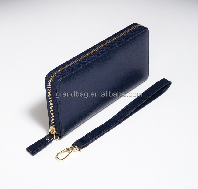 color custom unisex saffiano genuine leather travel purse zipper wallet with wrist strap