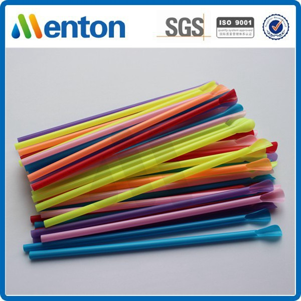Chinese customised colored hard plastic spoon straws