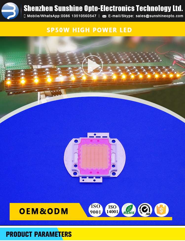 50w High Power Chip Led with Best Price for Street Lamp and Tunnel Lamp