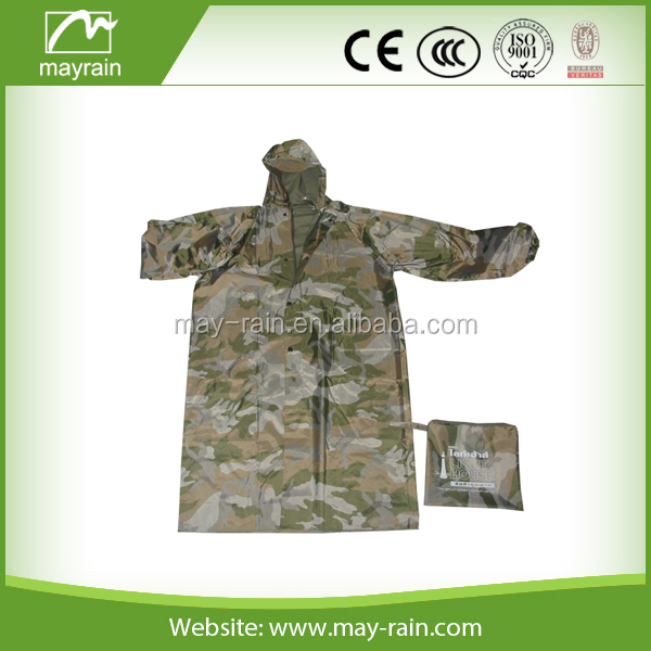camouflage rain suit long rain jacket adult waterproof hooded raincoat