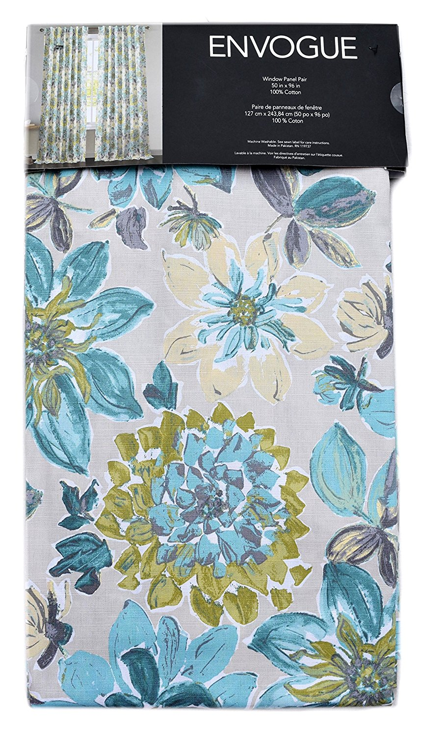 Get Quotations Envogue Matilda Flowers Window Curtains Large Floral 50 By 96 Inches 100