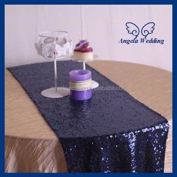 RU002G New Beaded Metallic Tiny Glitter Sequence Dark Navy Blue Sequin Table  Runner