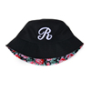 Summer flower print custom bucket hat with embroidery logo wholesale