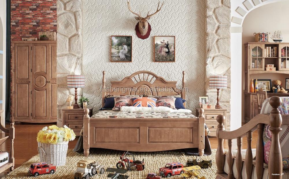 2015 latest new design oak wood kids room furniture boys bedroom