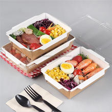 Disposable Custom Printed Food Kraft Lunch Box For Food, Paper Salad Box With Logo Printing