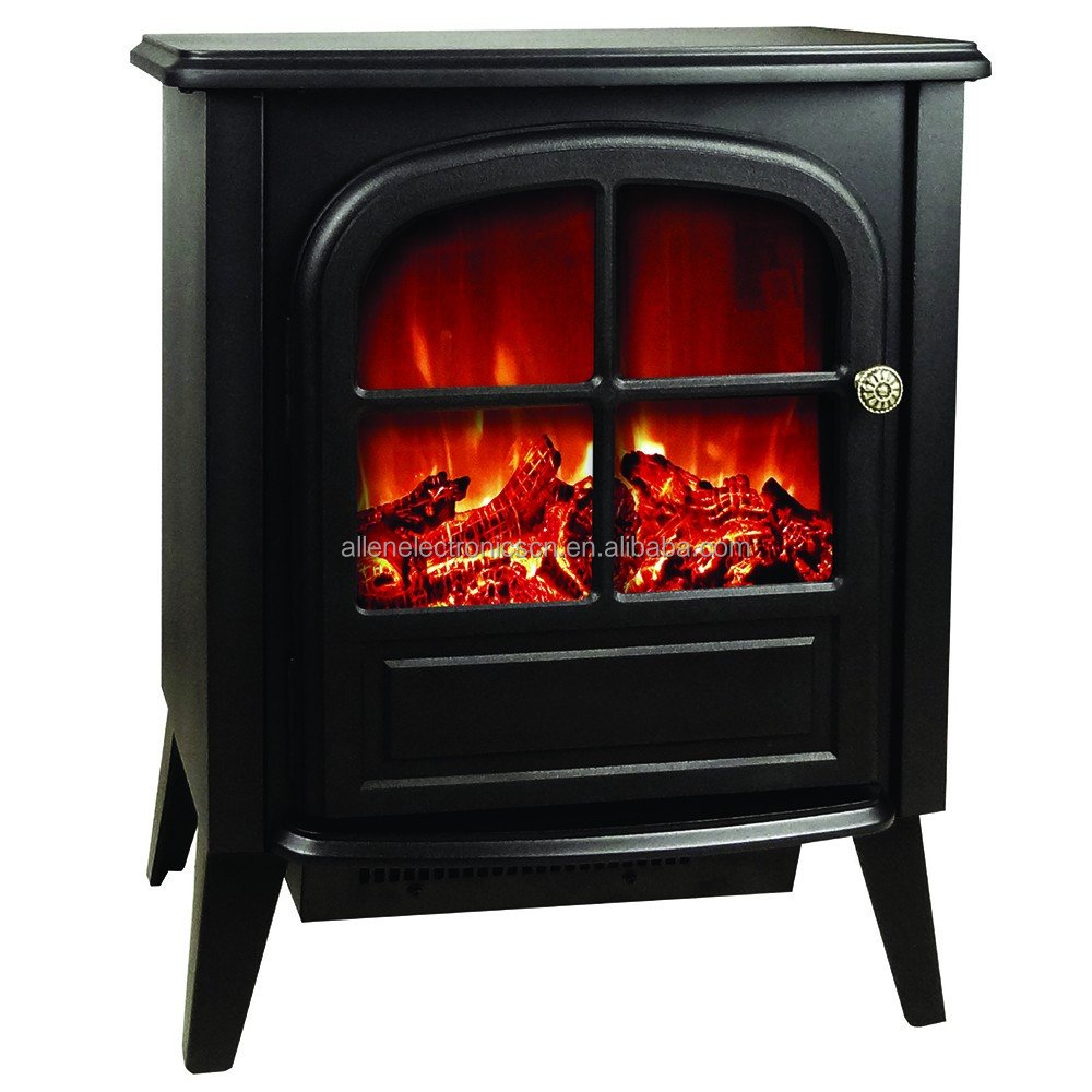 1500W Free Standing Electric Wood Stove Fireplace Heater Black
