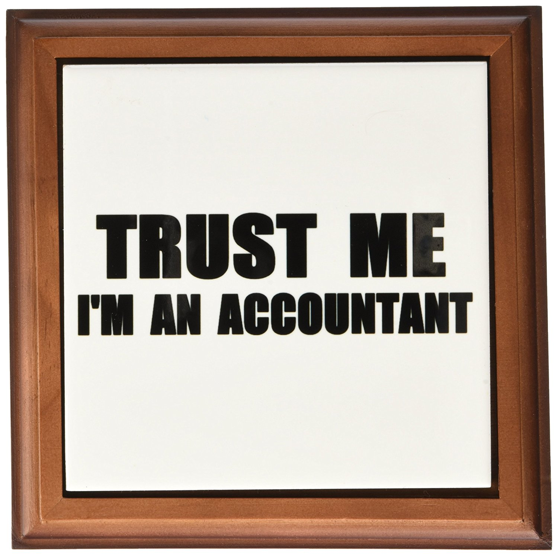 "3dRose ft_195588_1 Trust Me I'm An Accountant Fun Accounting Humor Funny Job Work Gift Framed Tile, 8 x 8"""