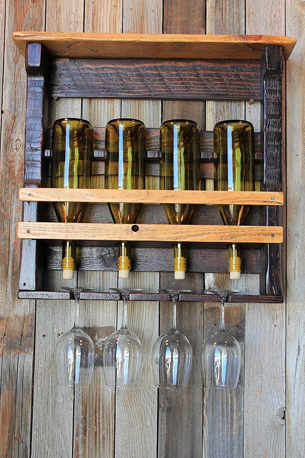 Rundown Rustics Wine Rack Storage Shelf Organizer Display Décor Organizer Cubby Rustic Reclaimed Recycled Upcycled Pallet Barn Wood Bar 4 Bottles Glasses Inverted Wall Mount