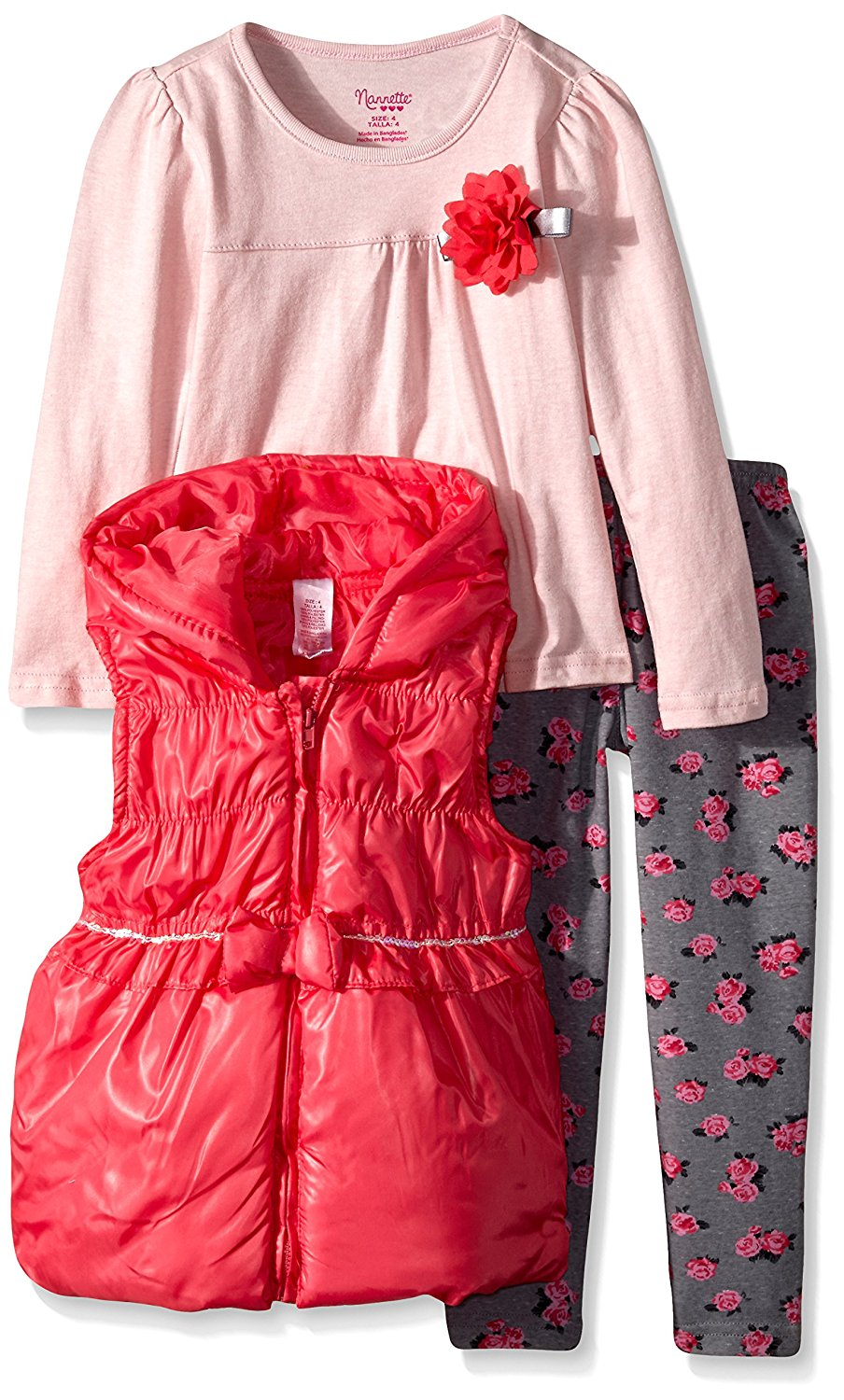Nannette Girls 2 Piece Pleated Chiffon Top and Printed Legging Set