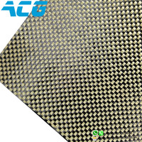 Carbon Fiber Hybrid Yellow Kevlar Fabric Plain Weave Surfboard ACG composites