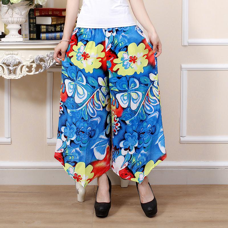 Бесплатная доставка 2015 лето нью-плюс размер женщины искусство цветочный печать хлопок эластичный пояс свободного покроя льняные брюки девять суб-рукав брюки