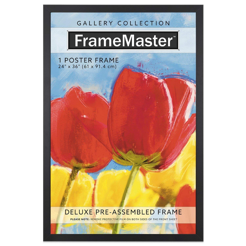 FrameMaster 24x36 Poster Frame (1 Pack), Black Wood Composite, Gallery Edition