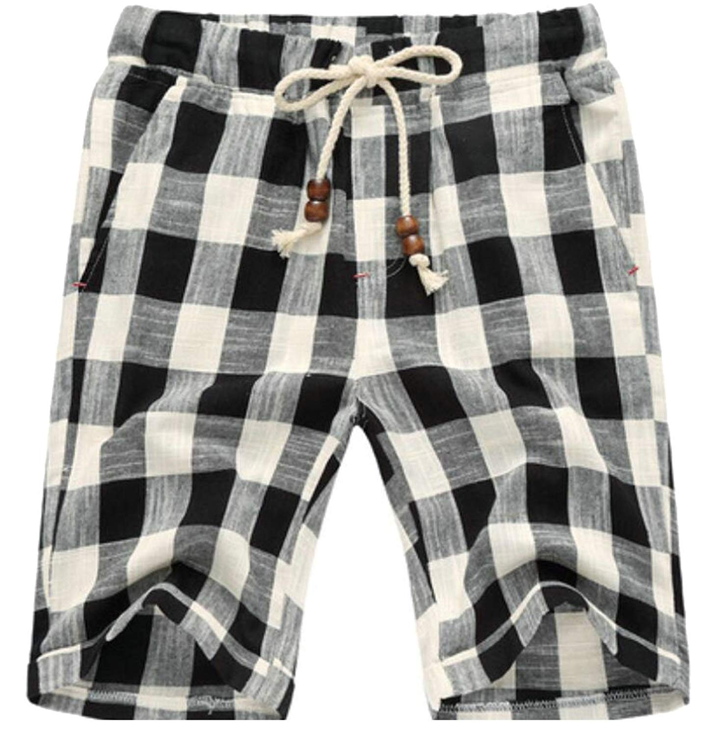 1db632ee05 Get Quotations · Spirio Mens Casual Flat Front Drawstring Plaid Cotton Beach  Shorts Pants