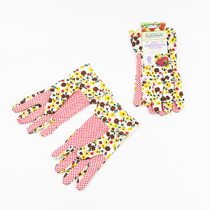 Printing Non Slip PVC Rubber Wear-resisting Lady Garden Hand Gloves Work