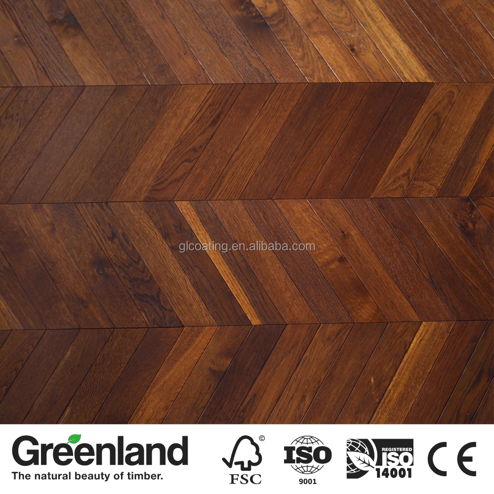 3 Layer Engineered Chevron Smoked OAK Wood Flooring
