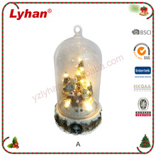 Lyhan christmas table decoration glass cover and resin animals with warm led lights