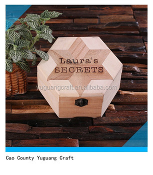 Personalized Custom Wooden Octagon Shape Engraved Gift Jewelry Ring Box with Mirror