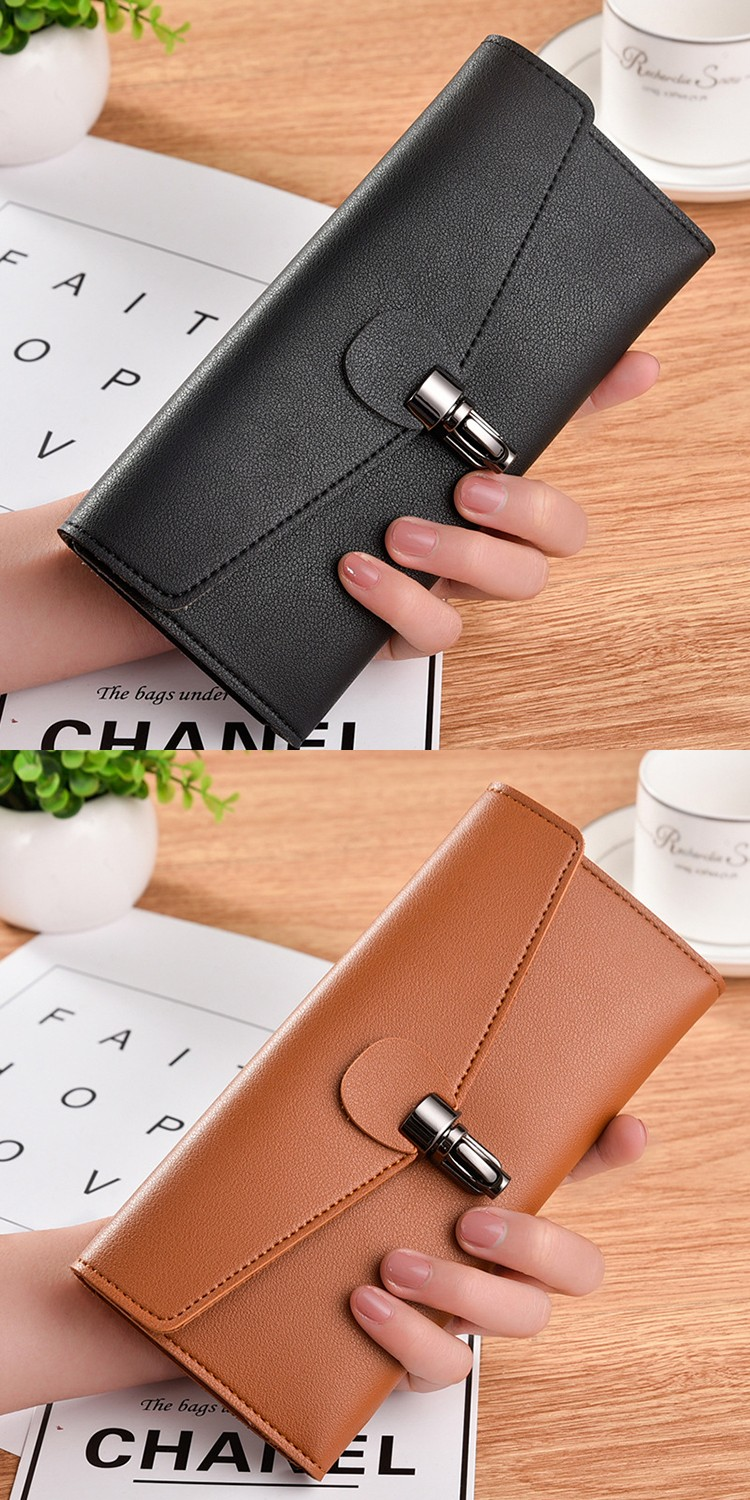 New Design Billeteras Para Mujer Lady Fashion Elegant Money Clip Clutch Brown Card Holder Big Capacity Leather Women