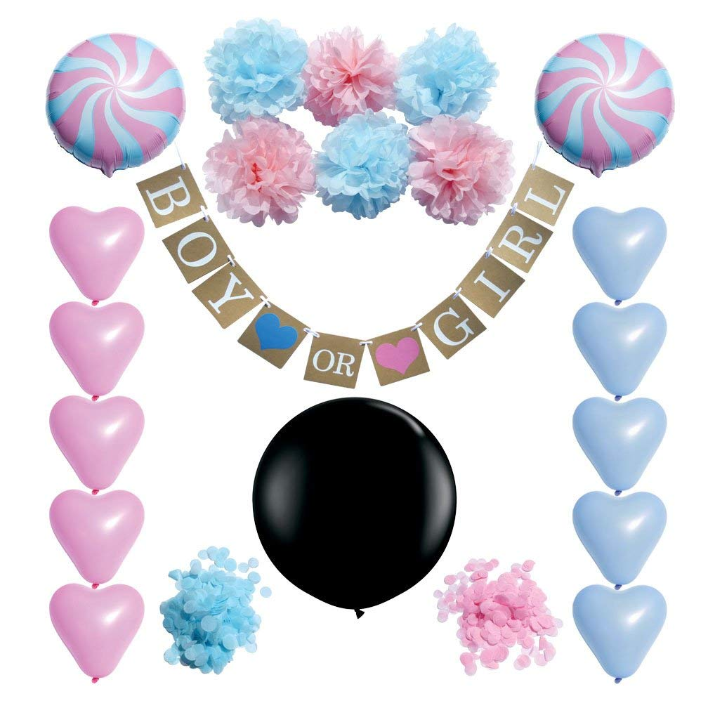 Gender Reveal Party Supplies | Baby Shower Decorations - Kit/Set: 36 inch Black Balloon with Baby Pink & Blue Confetti, Boy Or Girl Pregnancy Banner/Sign, Latex Heart Balloons, Tissue Paper Pompoms
