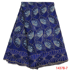 Guangzhou Girls Dress African Tulle Lace 2018 Voile Lace Cotton Fabric Embroidery XZ1437B