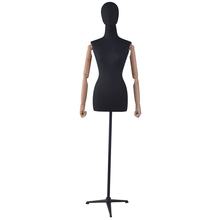 dummy form female fabric bust dressform mannequin with stand for fashion wood arms