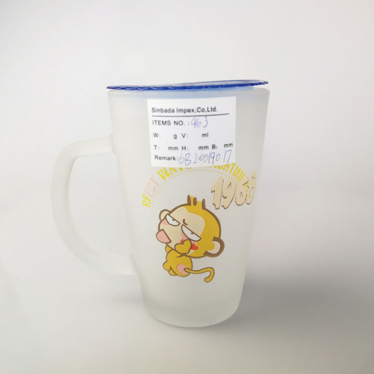 Wholesale frosted tea cup white frosted drinking glass mug food safe with monkey decal