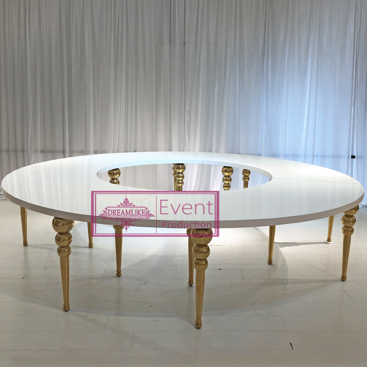 factory wholesale gold legs and S shape modern table for wedding and club