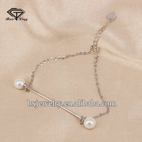 2017 new products beautiful 925 sterling silver pearl charm bracelet