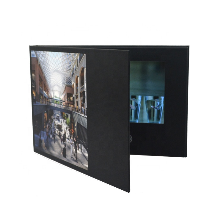 Customized bulk 7 inch lcd screen video booklet digital christmas greeting card magnetic folding brochure for business
